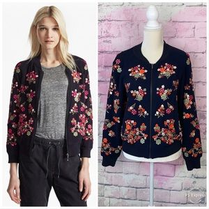 French connection embroidered floral bomber jacket